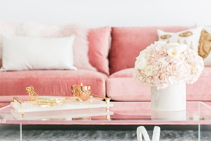 gold and pink coffee table decor