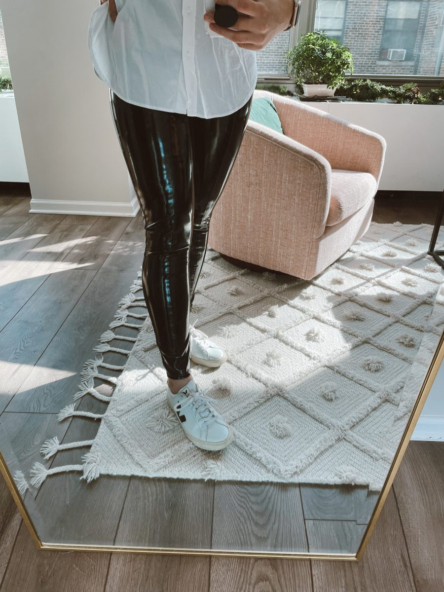 My Review of Spanx's Faux Leather Patent Leggings 3