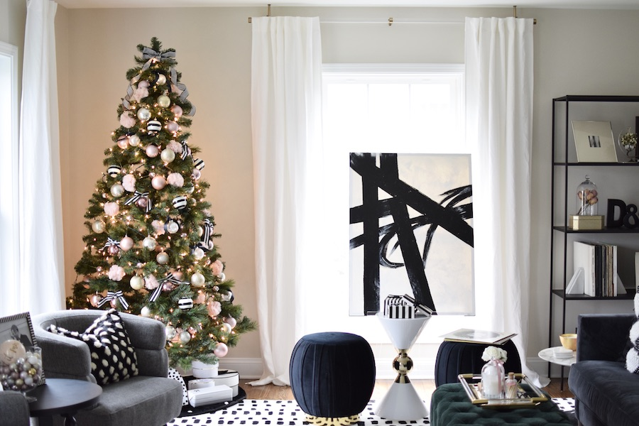 Holiday Home Tour Amanda Witte S Elegant Black White And Blush Christmas The Everygirl